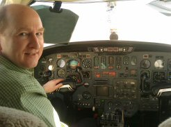 Pilot Stu tries on a Citation II